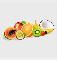 Sliced exotic fruits set vector