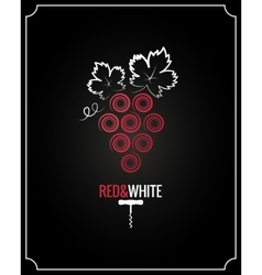 Wine grapes red and white on black background vector image vector image