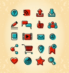 20 Internet Communication Icons vector image