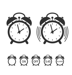 alarm clock icon set vector image vector image