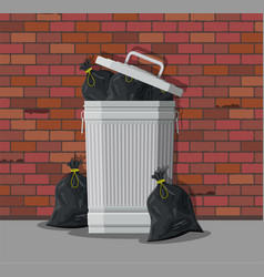 huge waste trash can on street vector image vector image