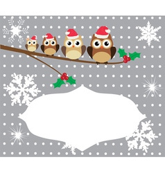 owl family card winter vector image vector image