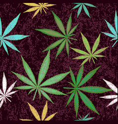 seamless pattern with colorful leaves of marijuana vector image vector image