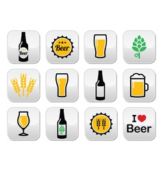 Beer colorful buttons set - bottle glass vector image vector image