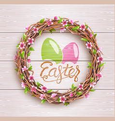easter festive twigs wreath with flowers on vector image