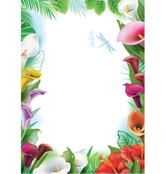 Frame with tropical flowers vector image vector image