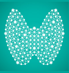 Human thyroid isolated on a green background vector