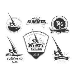 Retro surf emblems and labels set vector image vector image