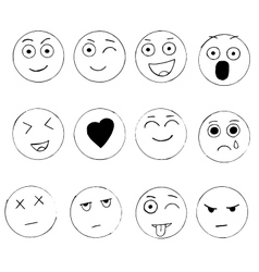 Set of hand drawn emoji isolated on white vector image