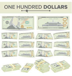 100 dollars banknote cartoon us currency vector image