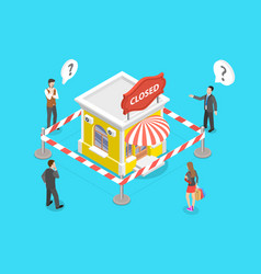 3d isometric concept stores closing and vector