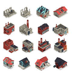Abandoned buildings isometric set vector