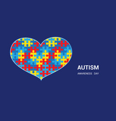 Autism awareness day heart shaped puzzle blue vector