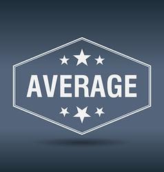 Average hexagonal white vintage retro style label vector