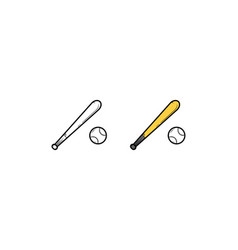 baseball hand drawn sketch and color vector image