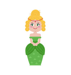 beautiful princess in green dress vector image