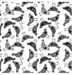 bird hand drawn pattern background with dark color vector image