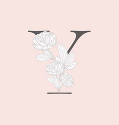 blooming floral initial y monogram and logo vector image
