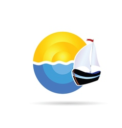 Boat icon on the sea and sun vector