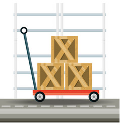 Boxes over platform trolley logistic shipping vector