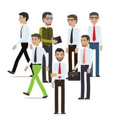 businessmen standing full length portrait on white vector image