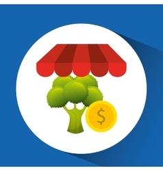 Buying online broccoli icon vector