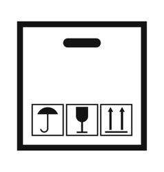 Cardboard with black fragile symbol vector image