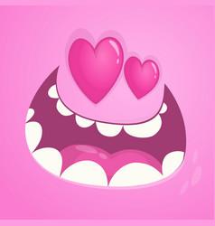 Cartoon monster face avatar in love vector