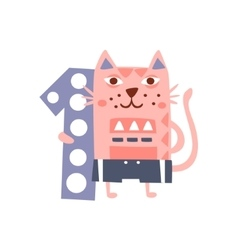 Cat Standing Next To Number One Stylized Funky vector image
