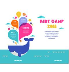 children summer camp poster vector image