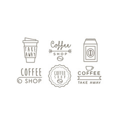 coffee shop line icons set takeaway coffee cup vector image