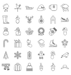 cold icons set outline style vector image