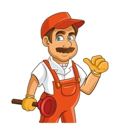 Construction or industrial worker holding plunger vector