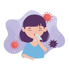 Covid virus 19 prevention when sneezing cover vector