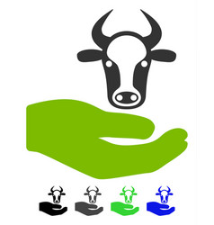 Cow care hand flat icon vector