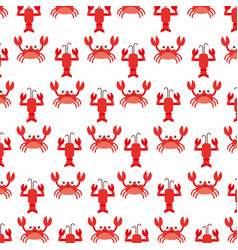 Cute crab and lobster sealife pattern vector