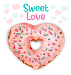 cute pink watercolor heart donut sweet love vector image