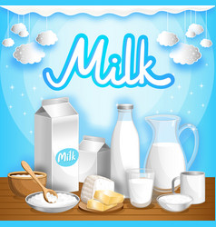 Dairy advertising with milk products vector