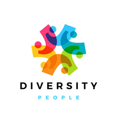 diversity people overlapping color logo icon vector image