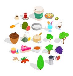 drinking tea icons set isometric style vector image