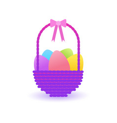 easter basket with colorful eggs icon isolated vector image