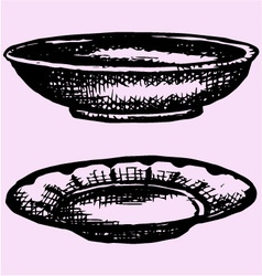 Empty bowl plate vector image