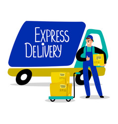 express delivery track delivery man and parcels vector image