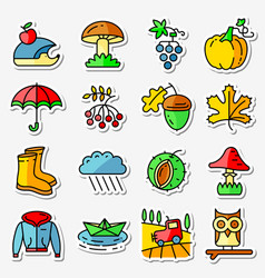 Fall season icons stickers set web pictograms vector