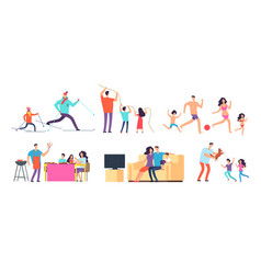 family spending time together mom dad vector image