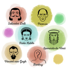 Famous artist icon set vector
