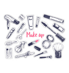 fashion and beauty stickers vector image