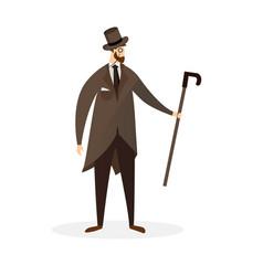Fashioned dandy cartoon character proud gentleman vector