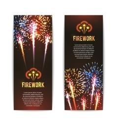 Festive firework 2 vertical banners set vector image