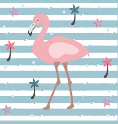 Flamingo on stripped background vector